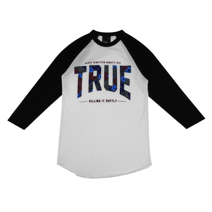 Womens True Floral 2 Raglan T-Shirt White/Black - Shop True Clothing
