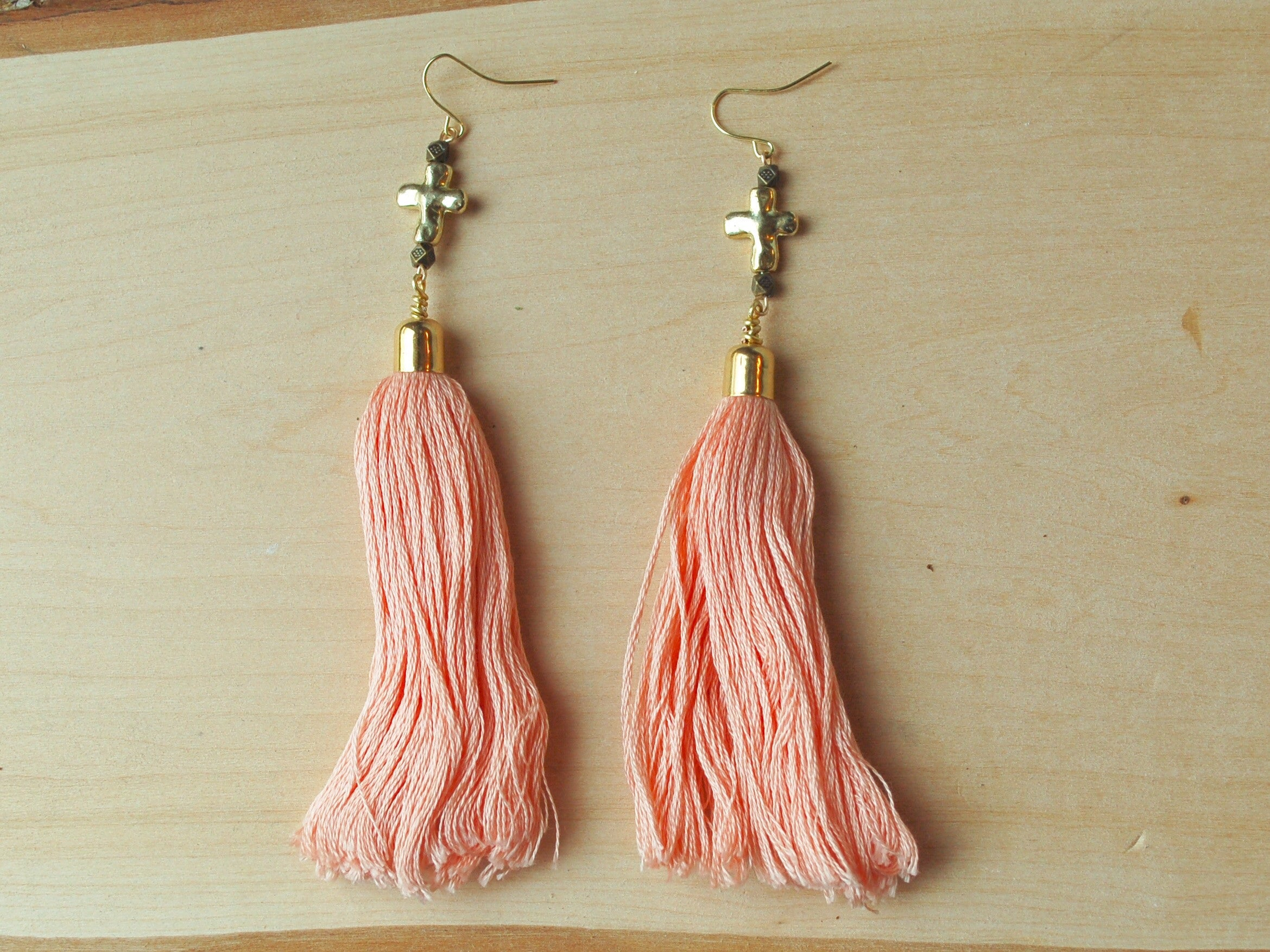 Just Peachy Cross Earrings