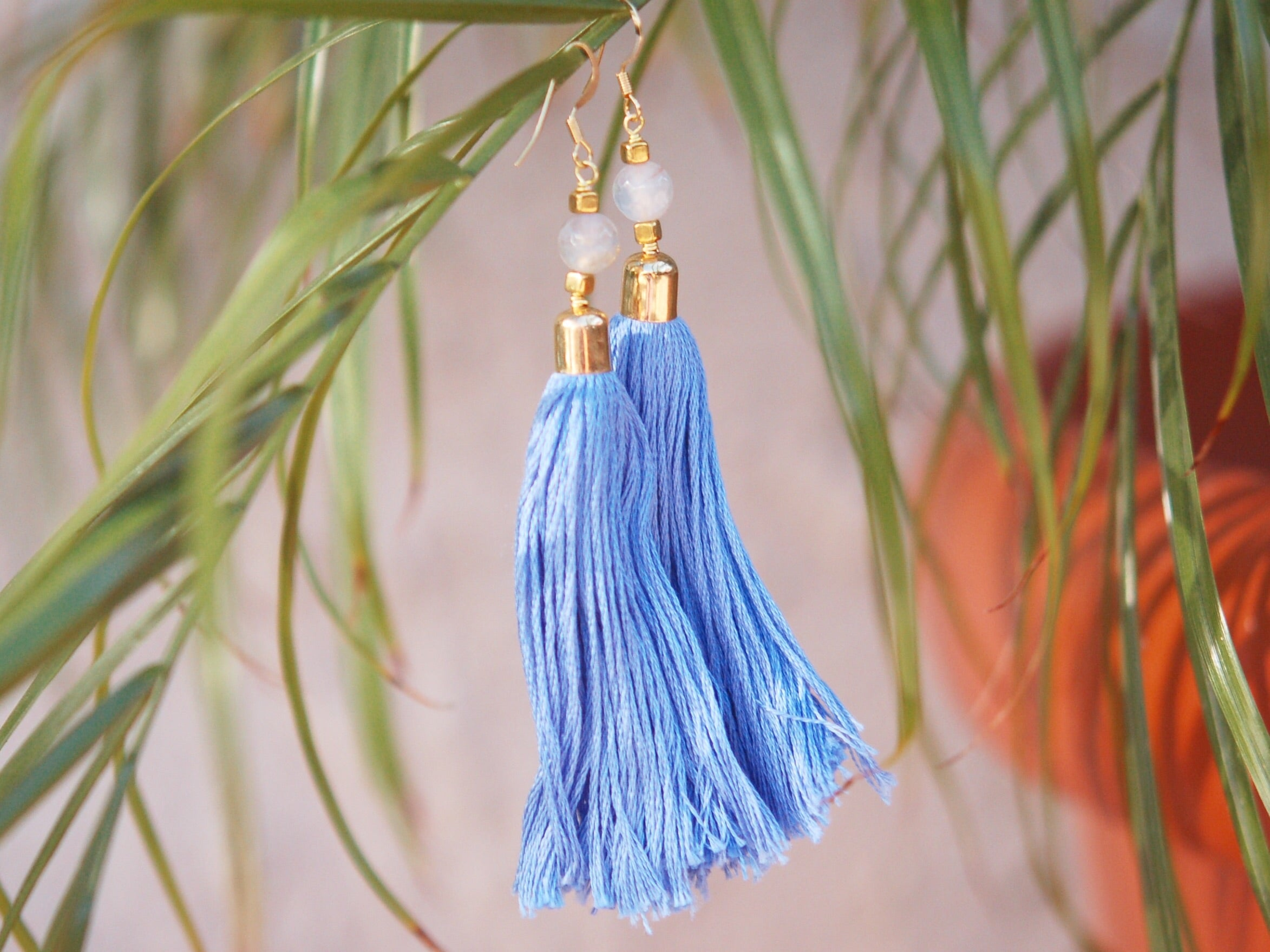 Periwinkle Goddess Tassel Earrings