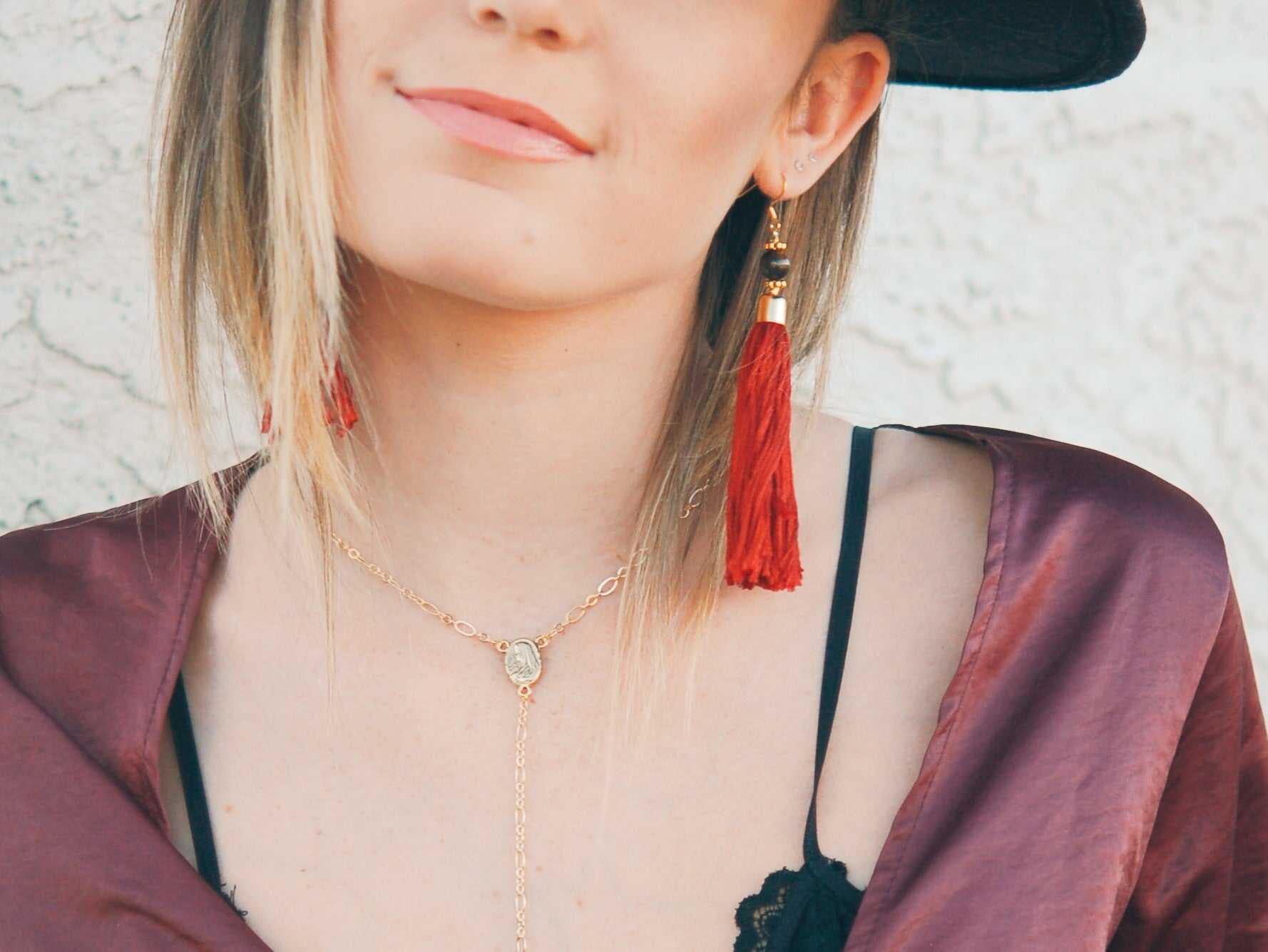 Dark Rust Tassel Earrings