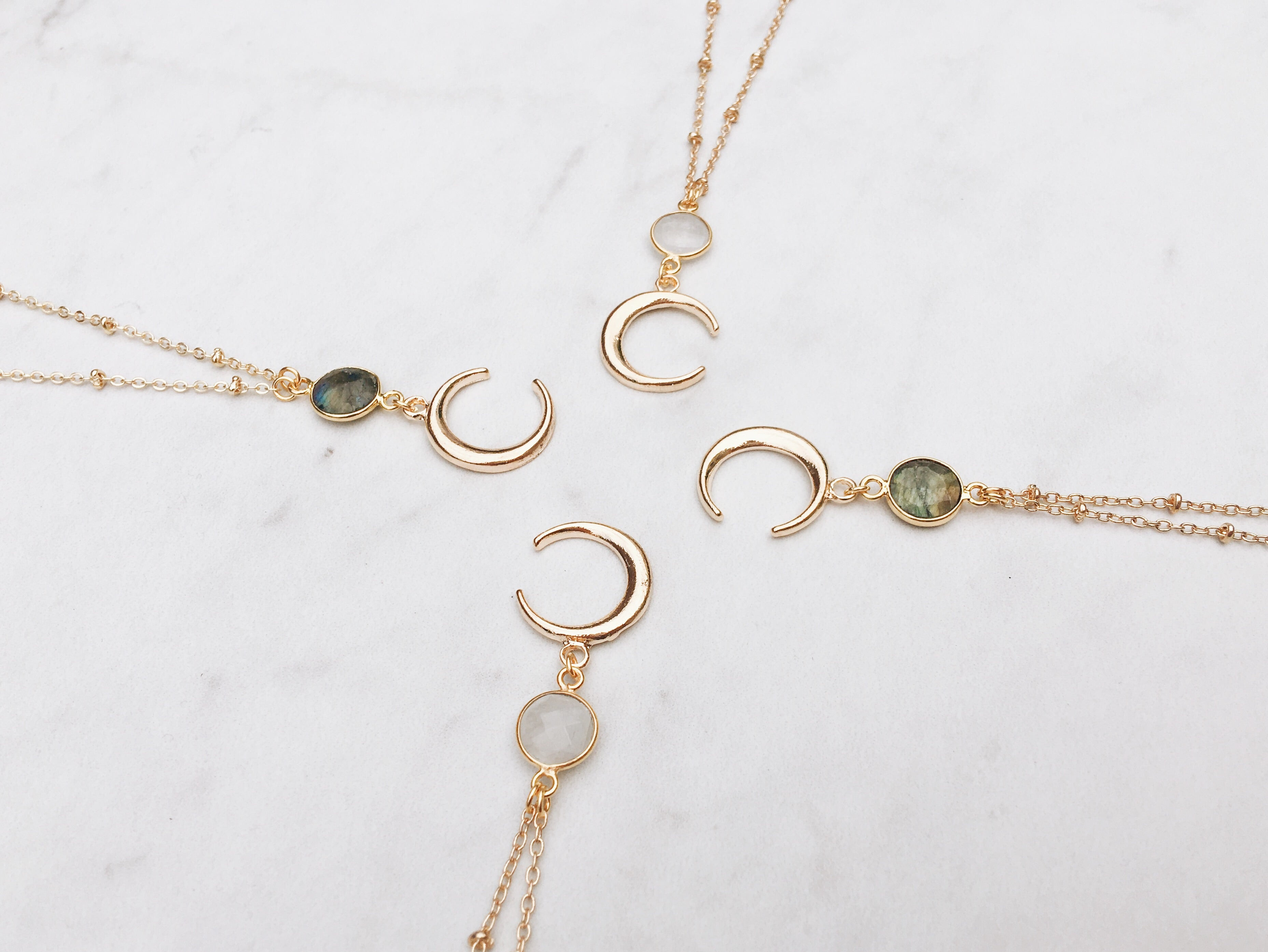 Luna Necklace in Labradorite or Moonstone