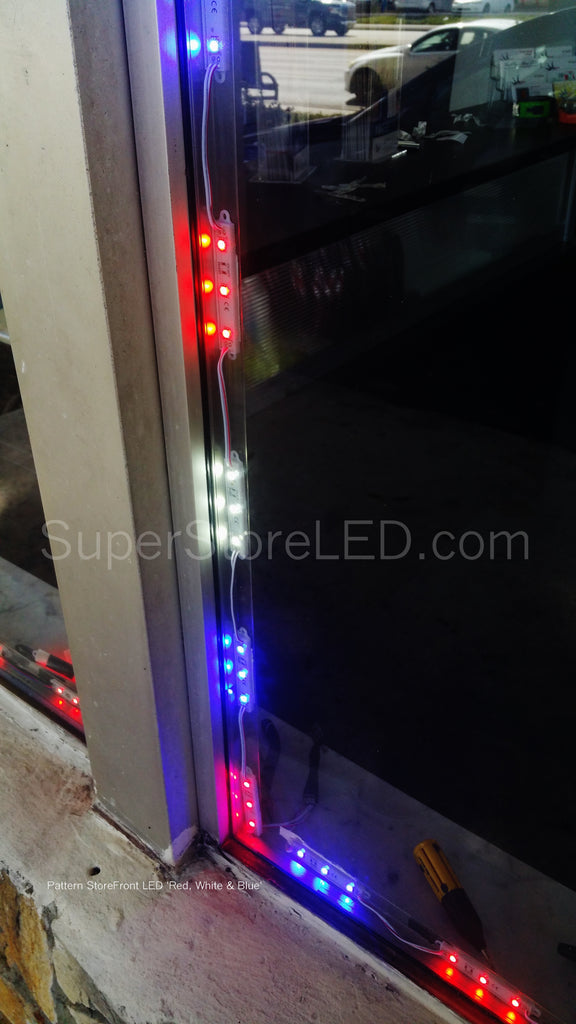 Red White and Blue Patriotic LED lights Storefront