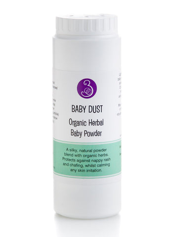 Baby Dust Baby Powder. Natural with organic herbs. Arrowroot, Kaolin Clay, Chamomile, Lavender, Marshmallow. Nappy rash, heat rash babies 85gm