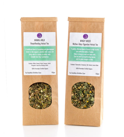 Happy Baby Bundle 2 packs of herbal tea Mama's Milk Breastfeeding Tea Windy Woes Colic Herbal Tea 100gm packs