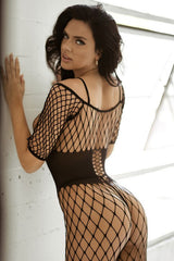 Corset Open Work Fishnet Bodystocking