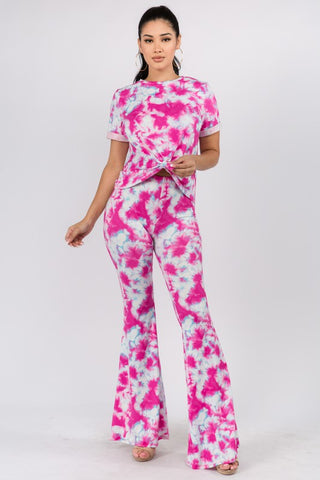TIE DYE PRINT KNOT FRONT TOP AND BELL BOTTOM PANTS SET