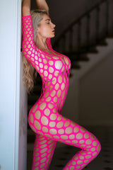 Open Work Fishnet 3/4 Sleeve Bodystocking