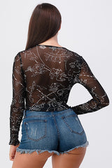 Constellation Print Sheer Mesh Longsleeve Top