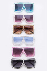 Crystal Oversize Square Sunglasses Set