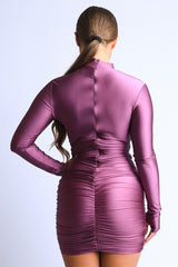 Double Ruched Long-Sleeved Dress