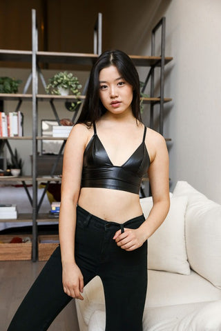 Faux Leather Longline Bralette