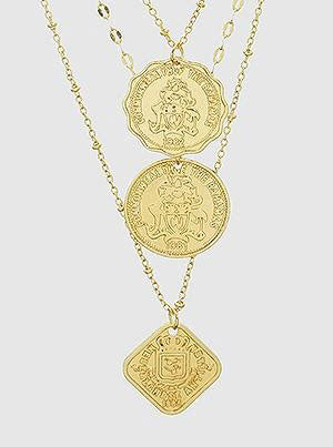 a gold layered coin necklace