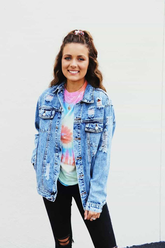 distressed denim jacket from The Swank Company