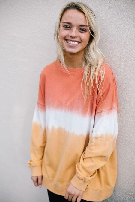 a dip dyed shirt in tangerine