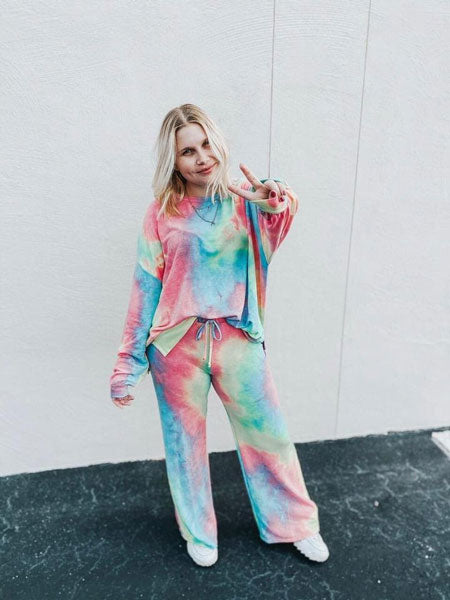a pastel tie-dye top with matching bottoms
