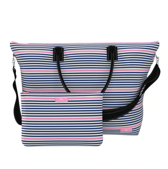 brightly colored travel bag