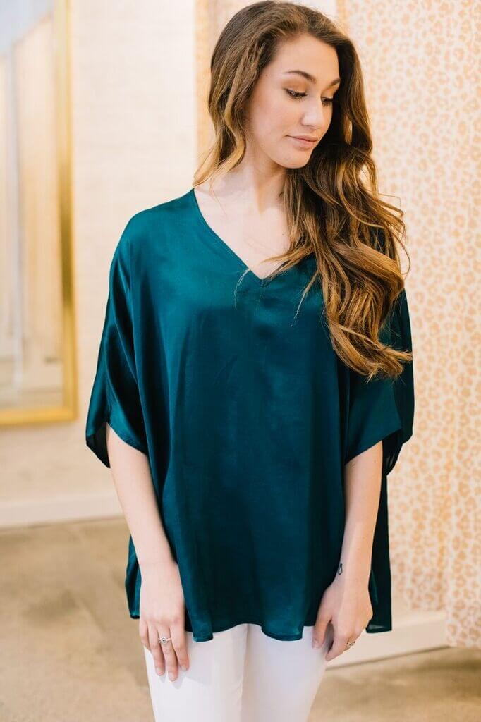 Satin V Neck Cocoon Blouse