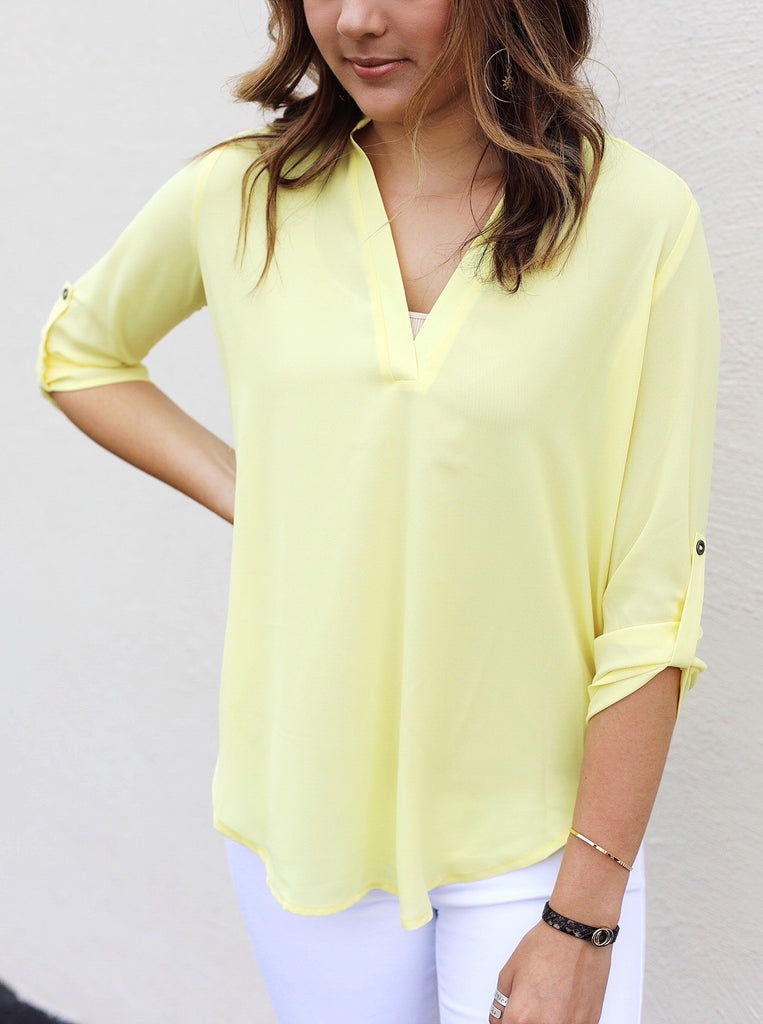 Open V Neck Button Down Blouse