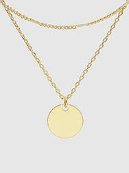 Dipped Disc Pendant Layered Necklace