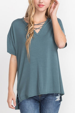 Short Sleeve Crisscross Top