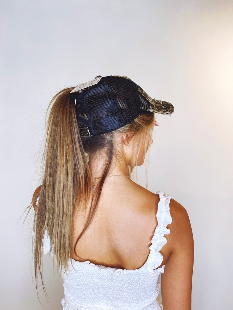 Distressed Mesh Criss Cross Cap