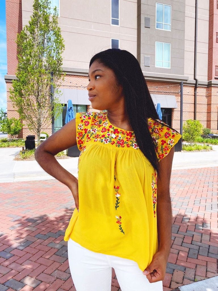 Bright Side Floral Embroidered Top