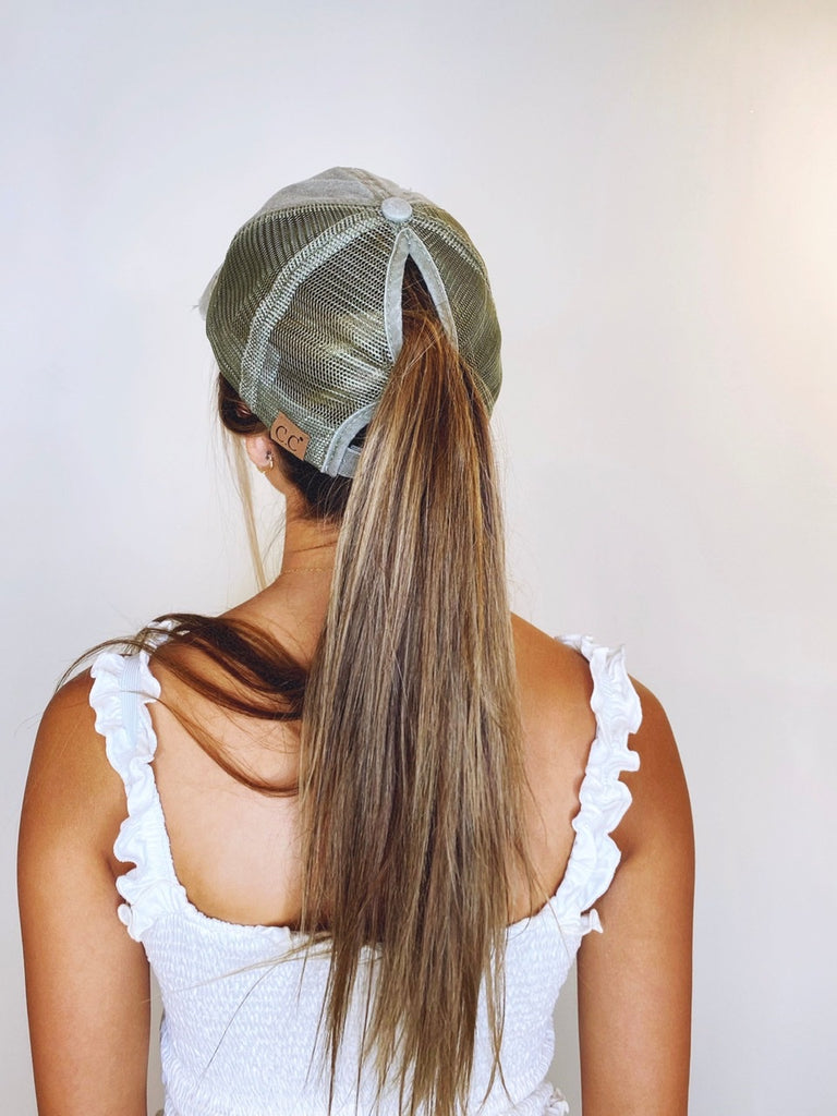 Distressed Mesh Ponytail Cap