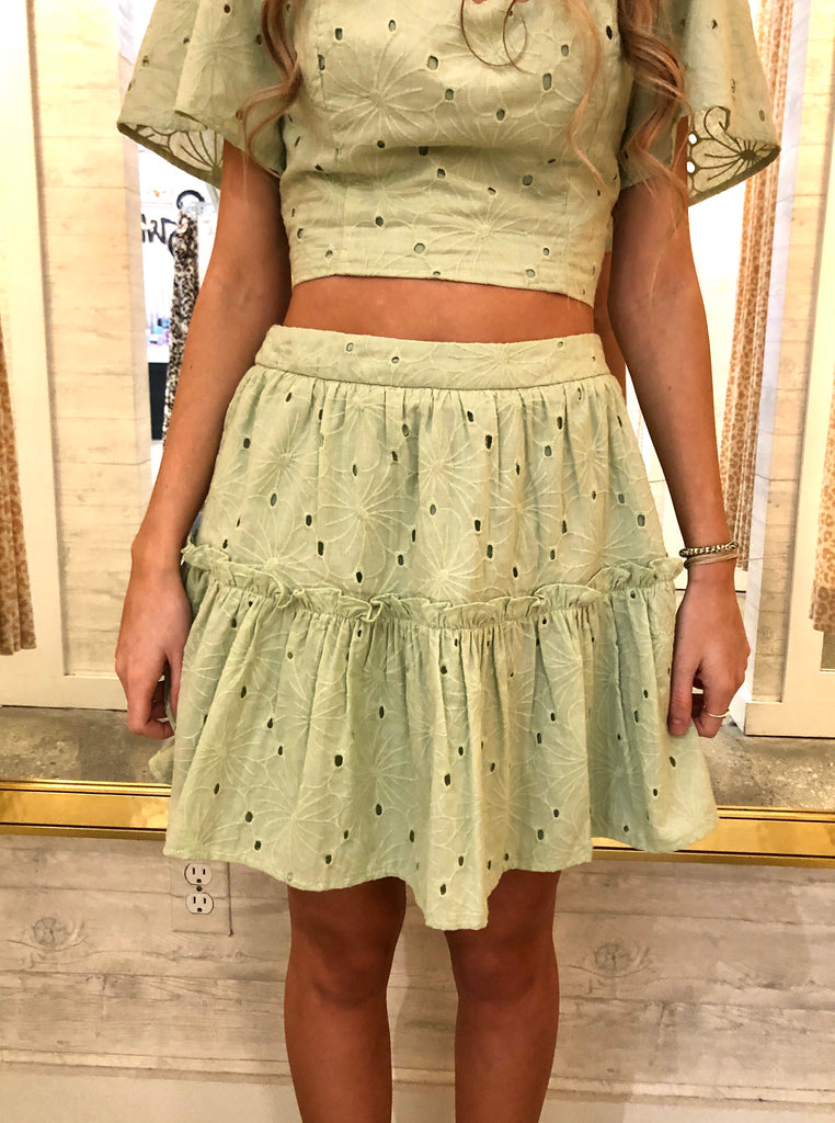 Eyelet Lace Sweetheart Mini Skirt