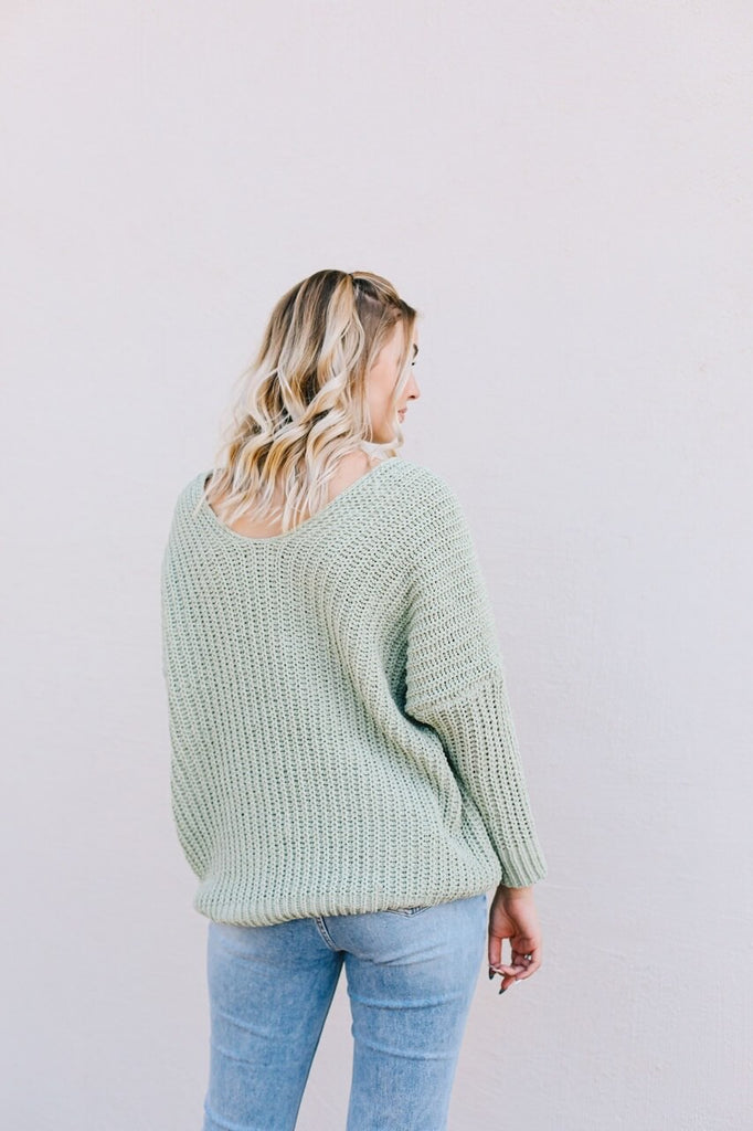 Drop Shoulder Knit Sweater