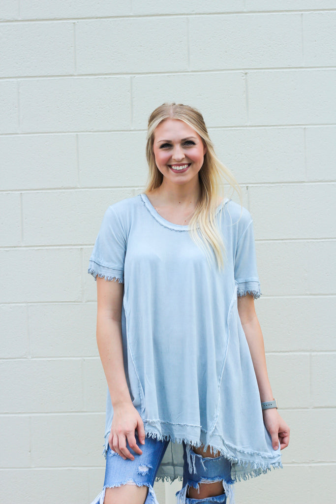 Washed Tee with Gathered Details