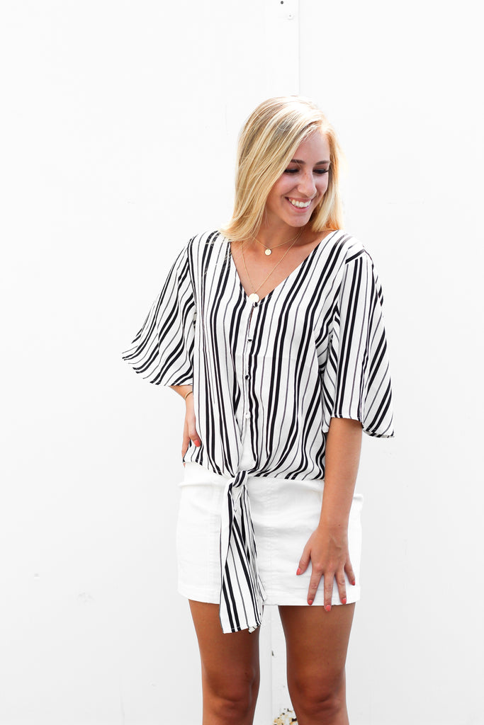 Stripe Front Knot Flowy Top