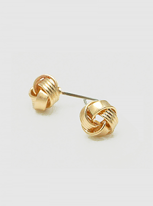 Zinc Alloy Exquisite Twisted Love Knot Stud Earrings