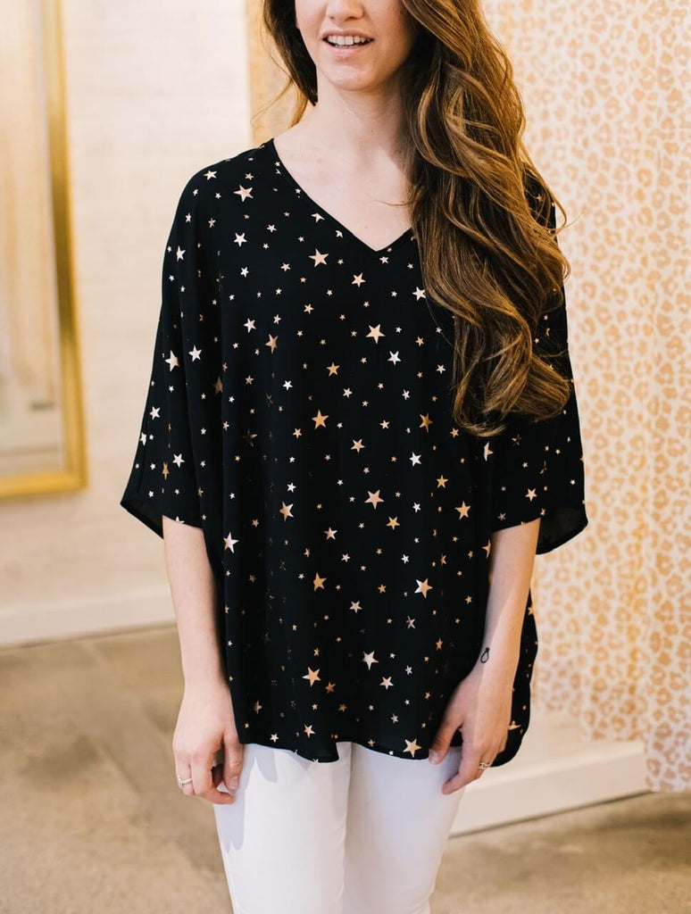 Metallic Star Cocoon Blouse