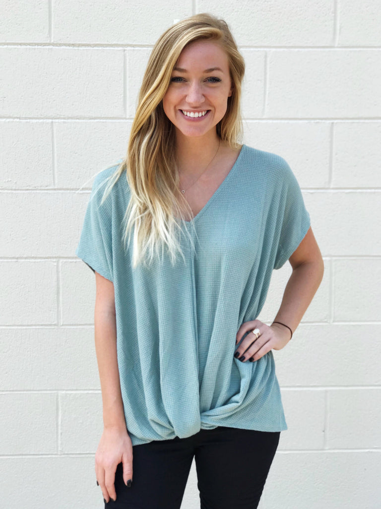 Thermal Twist Front V Neck Top