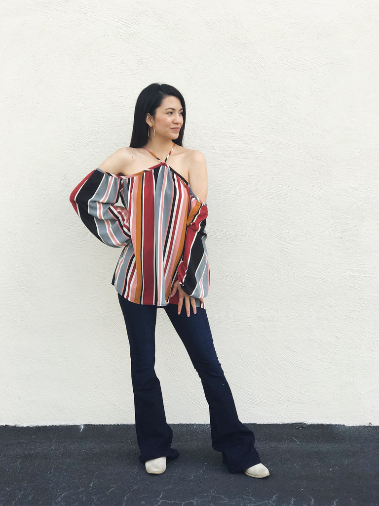 Striped Cold Shoulder Woven Top