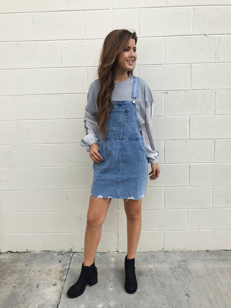 Distressed Skirtall Overalls