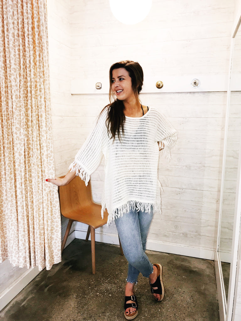 3/4 Sleeve Fringe Bottom Tunic