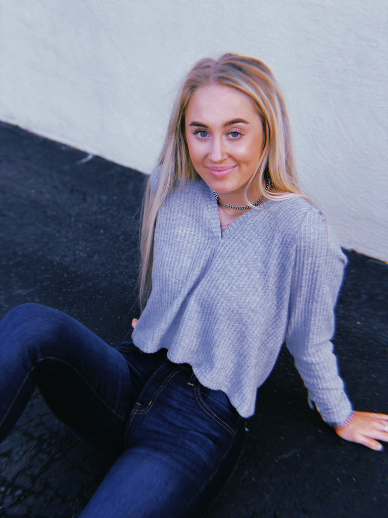 Waffle Knit Crop Pullover