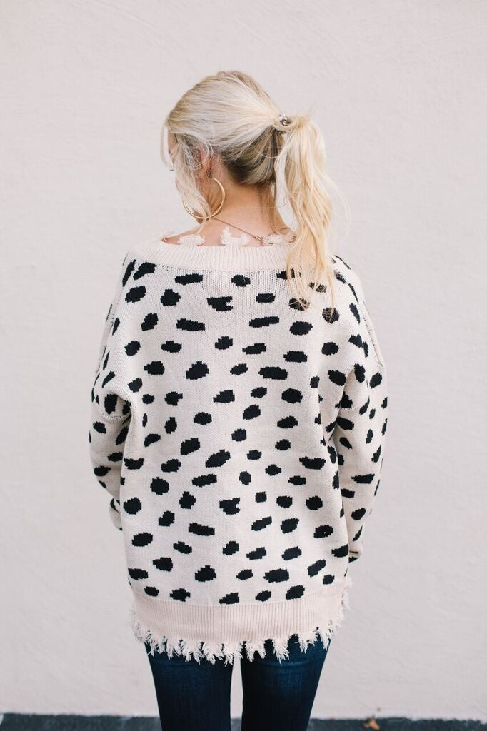 cheetah dot sweater