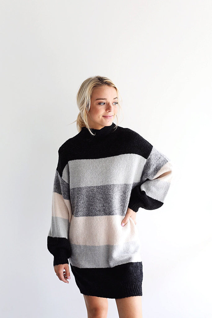 Knit Colorblock Sweater Dress