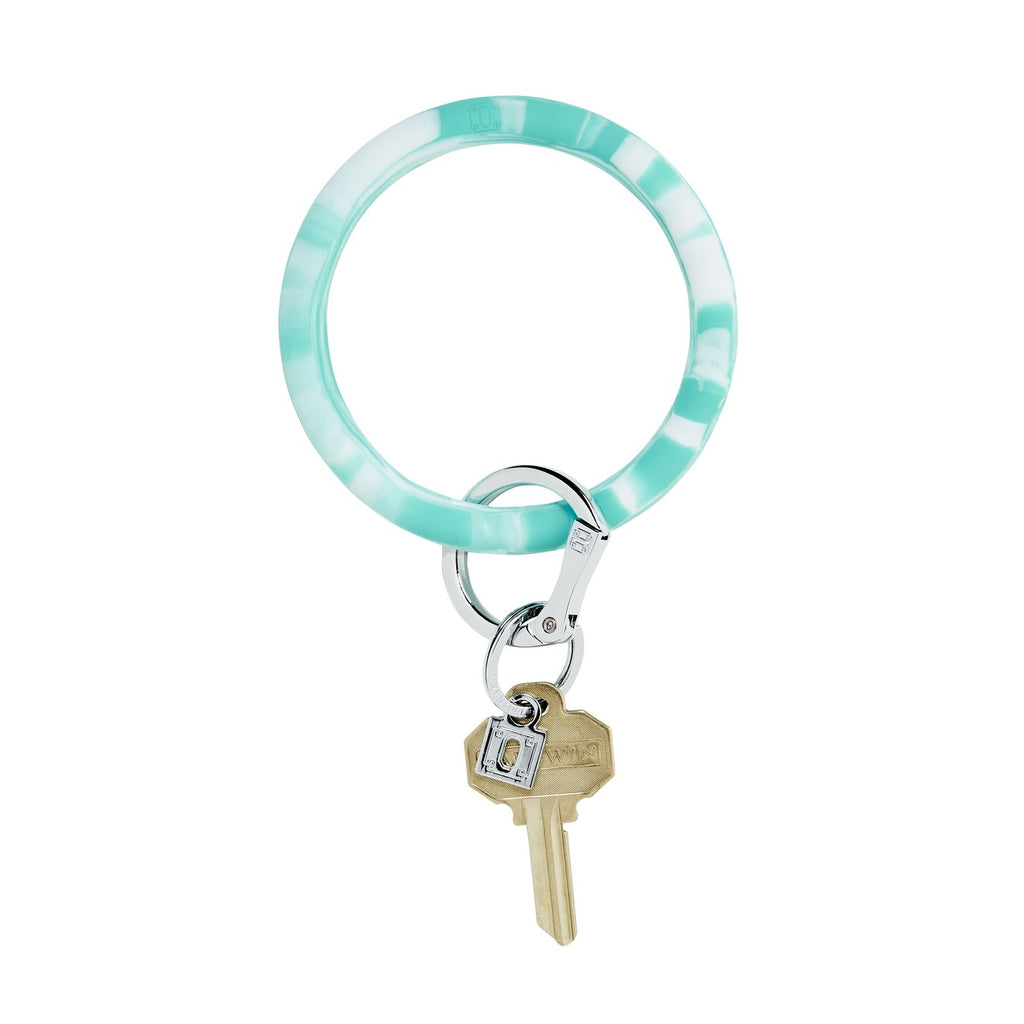 blue marble o ring keychain