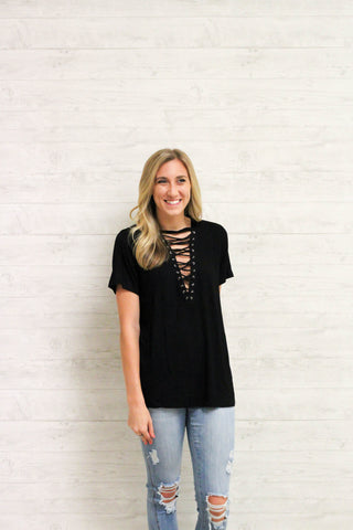 Deep V Lace Up Tee