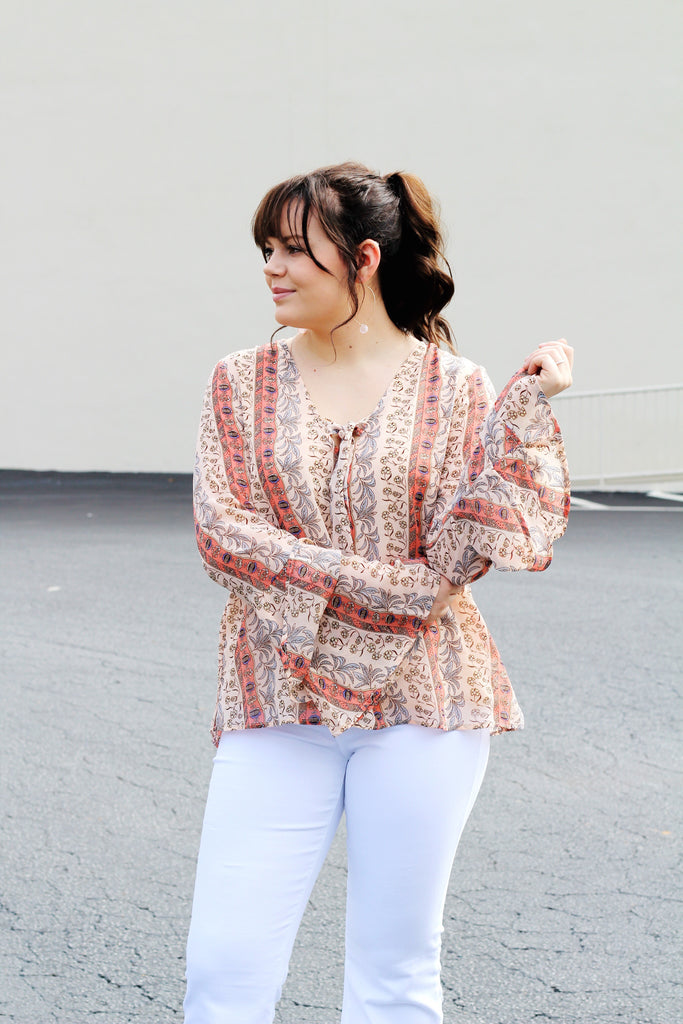 Top Knot Bell Sleeve Top