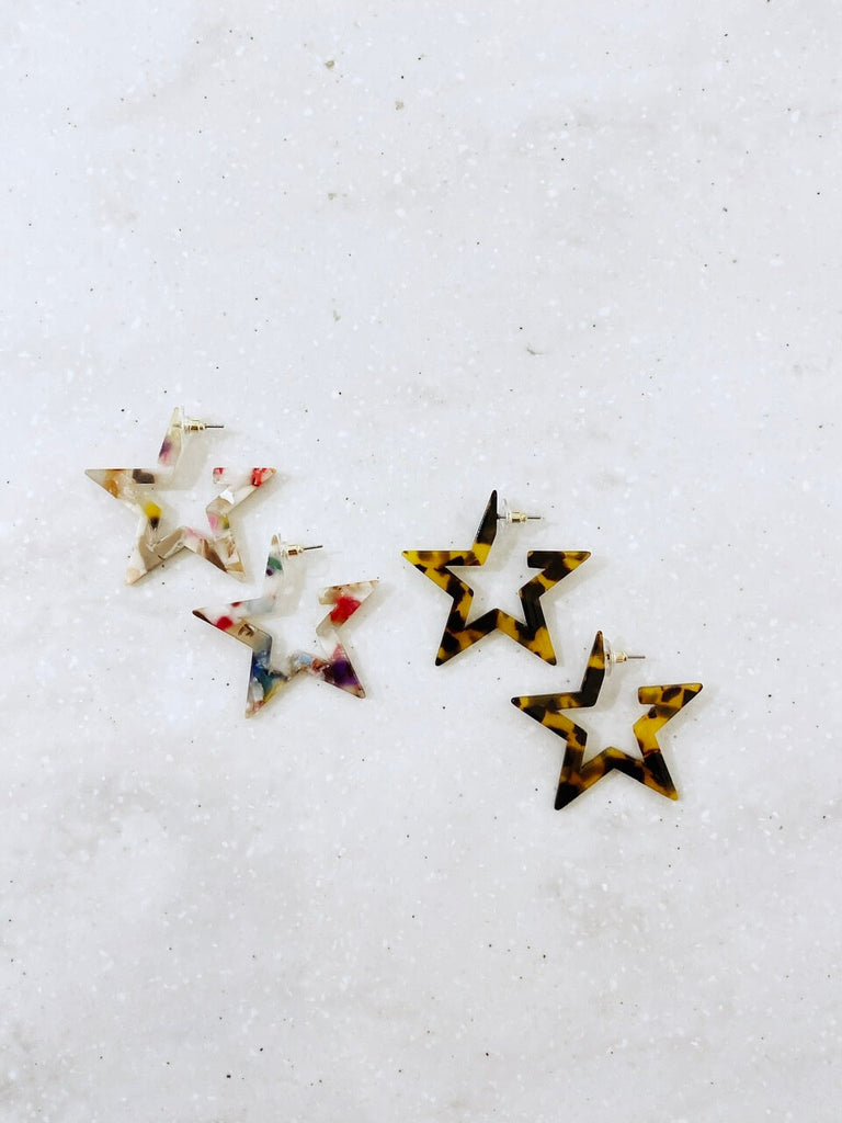 Tortoise Star Earrings