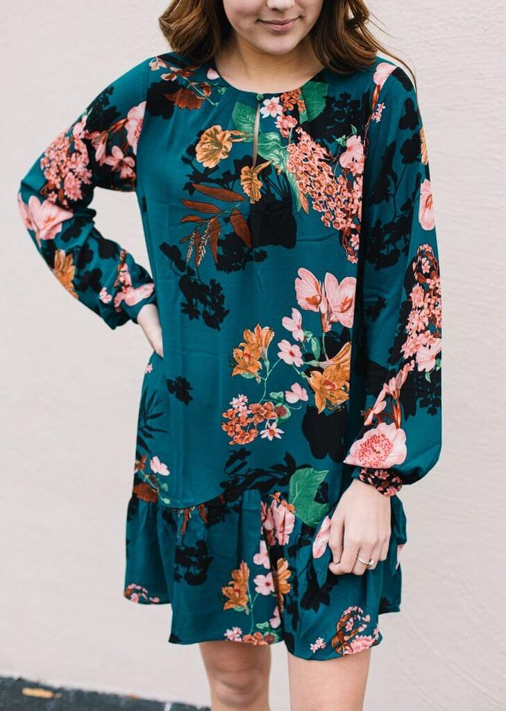 Keyhole Floral Tunic Dress