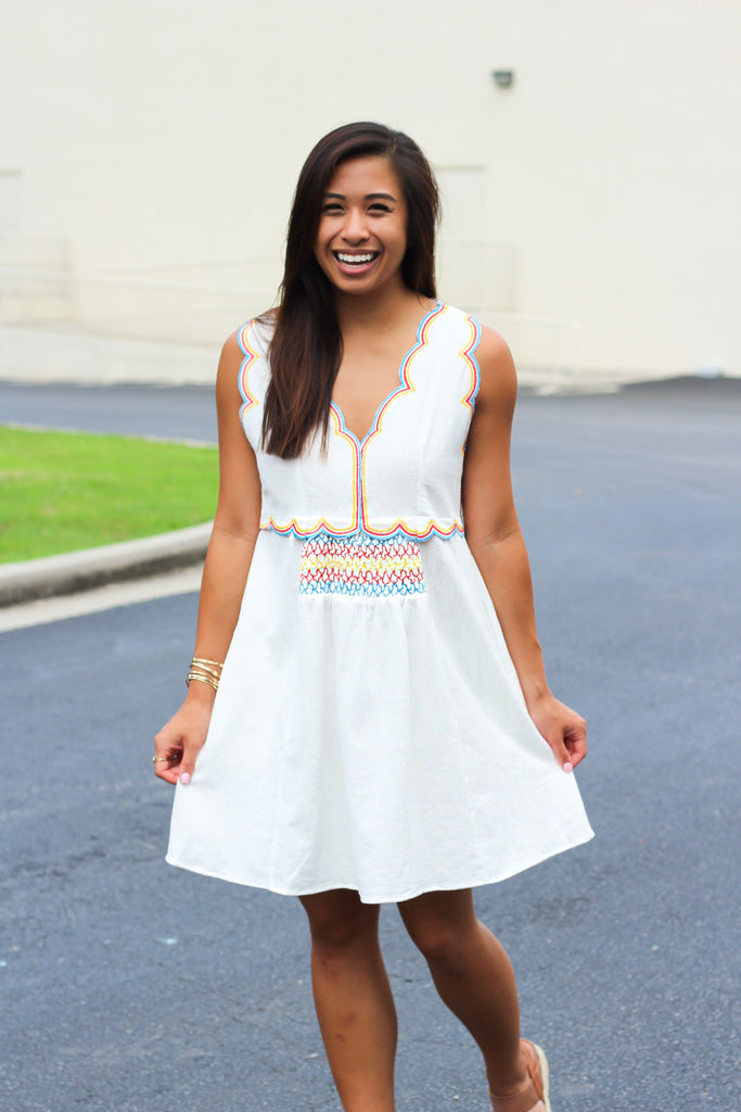 Multicolor Synch Scallop Dress