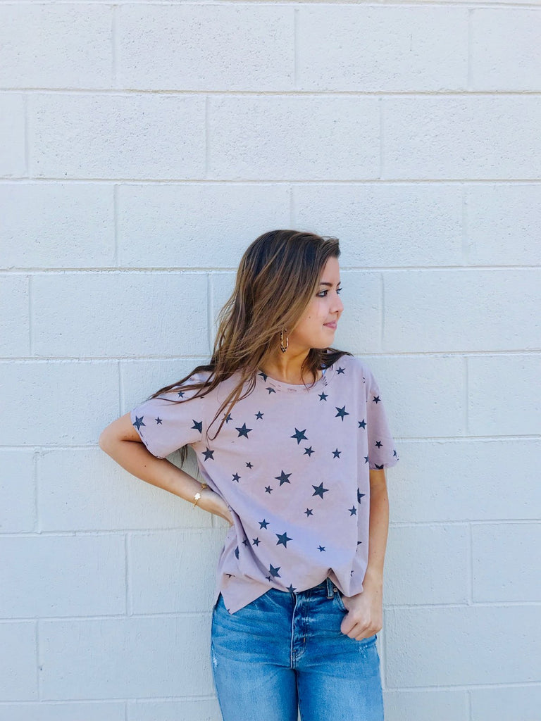 Distressed Collar Star Tee