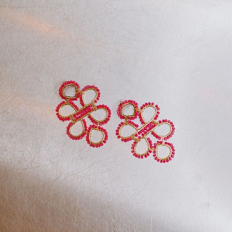 Beaded Clover Earrings
