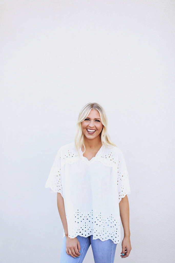 Lace Trimmed Oversized Blouse