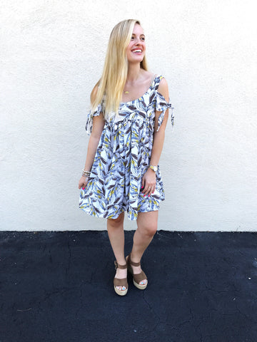 Leaf Print Cold Shoulder Dress